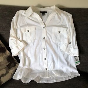 """Style & Co white button down 3/4"""" sleeve large NWT"""